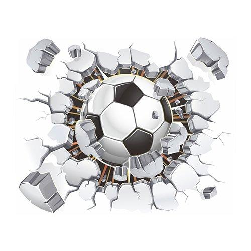 Steellwingsf Abnehmbarer 3D-Fußball-Wandaufkleber für Kinderzimmer, Jungen, Schlafzimmer, Wandaufkleber, Dekoration