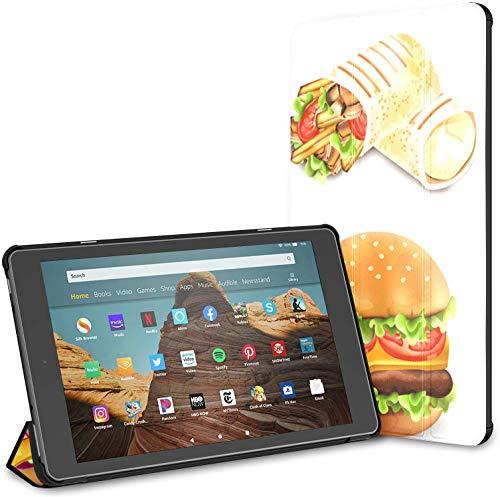 Case For Love Fast Food Tasty Hamburger Fire HD 10 Tablet (9.a / 7.a generación, versión 2019/2017) Fundas y Cubiertas para Kindle Fire 10 Estuche Resistente al Agua para Kindle Auto Wake/Sleep par