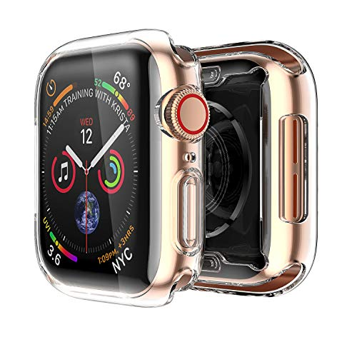 [2 Pack] Smiling Case Compatible with Apple Watch Series 6/ SE/Series 5/ Series 4 with Built in Screen Protector 44mm,Overall Protective TPU Clear Case