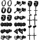 ONESING 15 Pairs Earrings for Men Black Stud Earrings Mens Earrings Stainless Steel Black Earrings for Men Women Jewelry Piercing Hoop Earrings Set