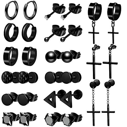 ONESING 15 Pairs Earrings for Men Black Stud Earrings Mens Earrings Stainless Steel Stud Earrings Set for Men Women Jewelry Piercing Hoop Earrings