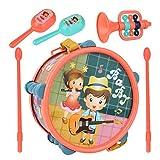 Instrumento musical para niños pequeños Juego de batería de juguete musical preescolar y educativo con 2 baquetas, 2 maracas y 1 trompeta Regalo de aprendizaje para 18 meses 2 3 4 5 años Niñas Niños B