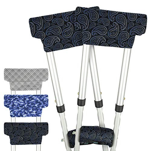 Vive Crutch Pads with Hand Grips - Padding for Underarm Crutches - Padded Handle Covers - Universal Under Arm Soft Cushioned Covers for Walking - Accessories for Men, Women, Kids (1 Pair, Paisley)