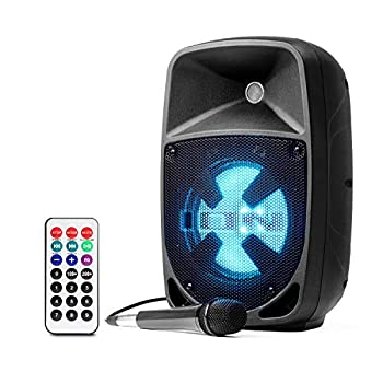 ION Audio Pro Glow 8 - 150W Wireless Bluetooth Speaker Portable PA System With Karaoke Microphone Vocal Effects USB/SD Playback and FM Radio