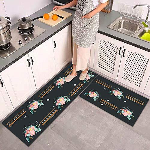 OPLJ Alfombra de cocina moderna con patrón de flores, antideslizante, alfombrilla de fieltro absorbente A15, 40 x 60 cm