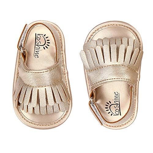 koshine Baby Sandal Tassels Summer Toddler Slipper Shoes 0-18 Months (6-12 Months, Gold)