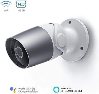 Cámara de Vigilancia Exterior Panamalar 1080P WiFi Cámara Seguridad con AlexaImpermeable IP Sistema de Cámara con Audio Bidireccional Visión Nocturna Detección de Movimiento para iOS y Android
