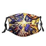 Drawn-Paintings-Vincent-Van-Gogh-Doctor-Who-Tardis (2) Face Mask With Filter Pocket Washable Reusable Face Bandanas Balaclava With 2 Pcs Filters
