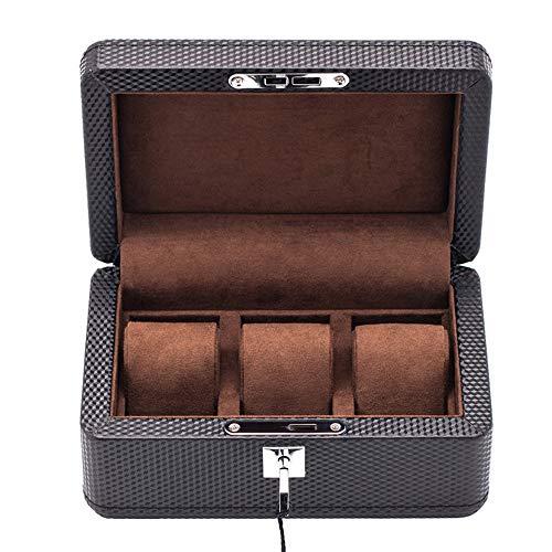 watch box High-End-Uhrenbox aus Kunstfaser aus Kunstfaser Mechanische Uhrenkollektion Uhrenbox 3 Tische mit Schloss Abnehmbares Tischkissen (Ledergelb/dunkelbraunes Interieur)
