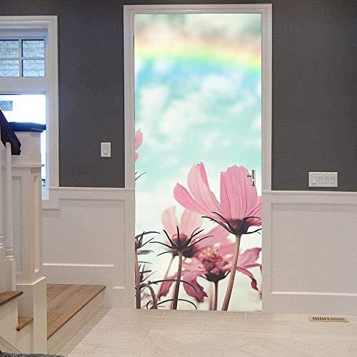 Papel Pintado Puerta Efecto 3D Extraíble Murales Para Puertas Autoadhesivo Impermeable PVC de Cocina Sala Baño oficina Decoración Puerta Papel Tapiz 77 x 200cm Cosmos arcoiris