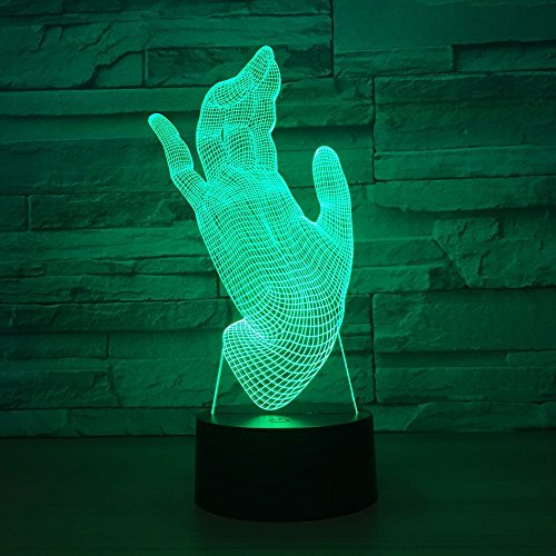 Forma della mano Creativo acrilico Disation Novità Luce notturna 3D Lampada da tavolo a LED Regalo di compleanno per bambini Decorazione da comodino