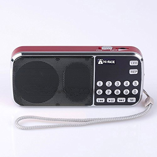 Hi-Rice SD-101 Portable FM AM Radio LCD Display Digital Speakers Support USB Disk TF/Micro SD Card Mp3 Player Best Gift for Elder Older Parents Leisure (Red)