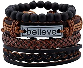 OfferDeal 4 Pcs Leather Bracelet Believe for Men Wrist Band Handmade Vintage Beaded Bracelet Bangle Braided Cuff Adjustable