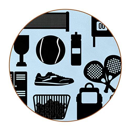 Bennigiry Posavasos redondo de raqueta de tenis de color negro simple, 6 piezas, para mesa, bar, café, vino, cerveza