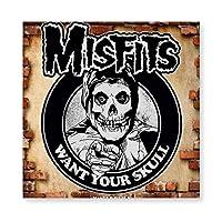 Misfits Skull2 木製 額縁 フォトフレーム 壁掛け 木製 横縦兼用 絵を含む 40×40cm