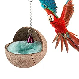 Keersi Natural Coconut Shell Bird Nest House Bed with Warm Pad for Parrot Budgie Parakeet Cockatiel Conure Lovebird Canary Finch Hamster Rat Mice Chinchilla Cage Toy Nesting Box