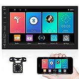 CAMECHO Android 9.1 Radio de Coche 2Din GPS Carro Estéreo HD de 7 ''Pantalla táctilcon Bluetooth Navegación GPS WiFi USB/SD FM Enlace Espejo Carro Multimedia Jugador+Trasero Vista Cámar