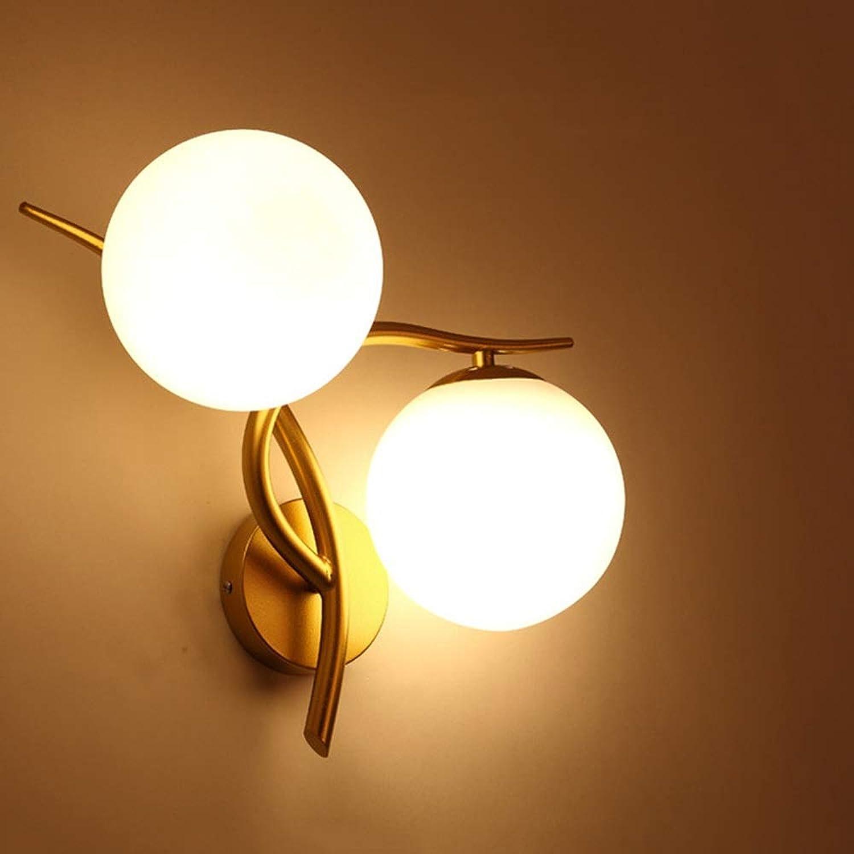 ZXF Europische Einfache Gold Doppelkopf Wandleuchte Glaskugel Metall Beleuchtung Lampen Durchmesser 36cm Hoch 34cm5-15 Quadratisch Nachttisch Schlafzimmer Studiengang Warm