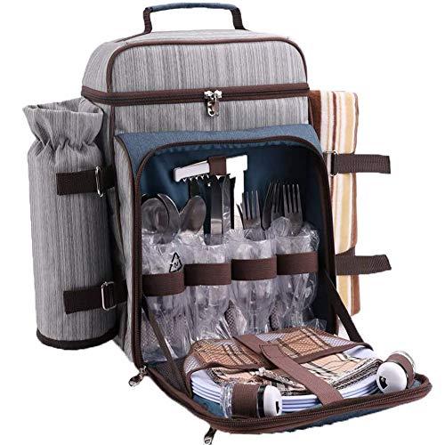 Arkmiido Picknick-Rucksack für 4 Personen mit Kühlfach und wasserdichter Decke, Picknick-Besteck-Set, tragbare Picknick-Tasche für Familie, Outdoor, Wandern, Camping, Grillen (grau)