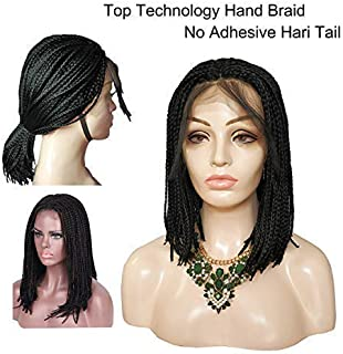 BOB Braided Lace Front Wigs Glueless Heat Resistant Micro Braid Synthetic Hair Middle Part Full Hand Made Tied Cornrows Braideds with Baby Hair for Daily Wear Black Women