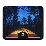 Mouse Pads Blue Travel Silhouette of Couple Having Romantic Evening in Camping Tent The Woods at Night Under Stars Mouse Pad for Notebooks,Desktop Computers Office Supplies