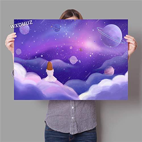 UIOLK Lienzo de Arte Galaxy Art Space Astronaut Poster Sistema Solar Espacio Exterior Arte de la Pared Regalo de cumpleaos decoracin Cartel Lienzo Pintura Home Retro Art Poster