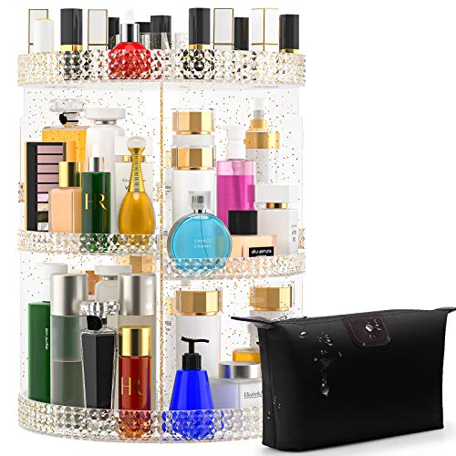 Awenia Makeup Organizer 360-Degree Rotating, Adjustable Makeup Storage, 7 Layers Large Capacity Cosmetic Storage Unit, Fits Different Types of Cosmetics and Accessories, Plus Size with Makeup Bag(Glitter)