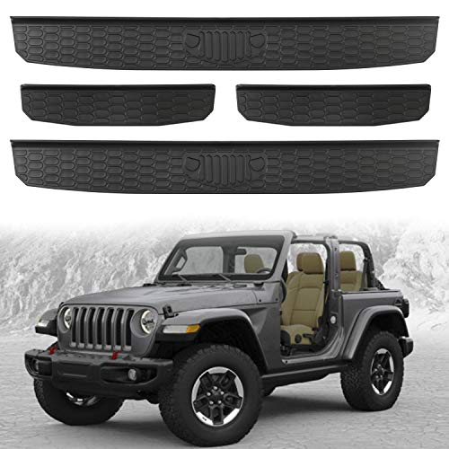 Seven Sparta Door Sill Guards for 2018 2019 Jeep Wrangler JL/JLU, 2020 Gladiator JT Entry Guards Black(4-Door)