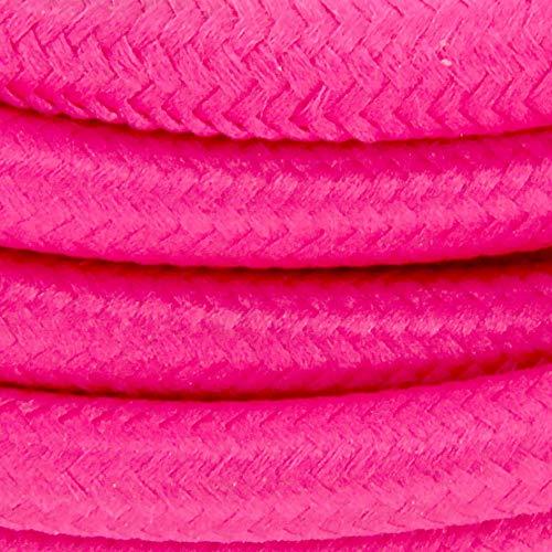 Cable textil con enchufe e interruptor (2 m), color rosa