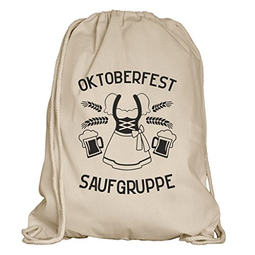 Shirtdepartment® Turnbeutel für das Oktoberfest   Farbe: Natur-Schwarz Oktoberfest Saufgruppe (Dirndl)   Wiesn 2018   Lederhose   Dirndl   Bayrisch   Bayern   Jutebeutel   Spruch   Design   Rucksack