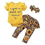 Verve Jelly 3 piezas de ropa de bebé Newborn Infant de manga corta con volantes, pelele + falda de flores + juego de ropa para la cabeza amarillo 0-6 Meses