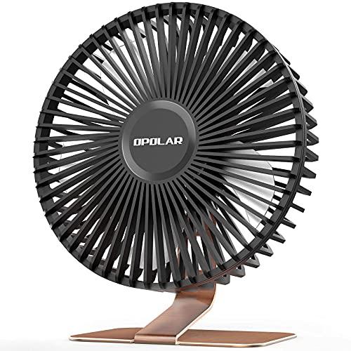 OPOLAR Nuevo Ventilador de Mesa USB con Flujo de Aire Fuerte, 4 Velocidades, Pequeño Silencioso Ventilador de Mesa de Oficina, Angulo de Inclinación Ajustable de 90°, Cable de 1,5 m, Bronce