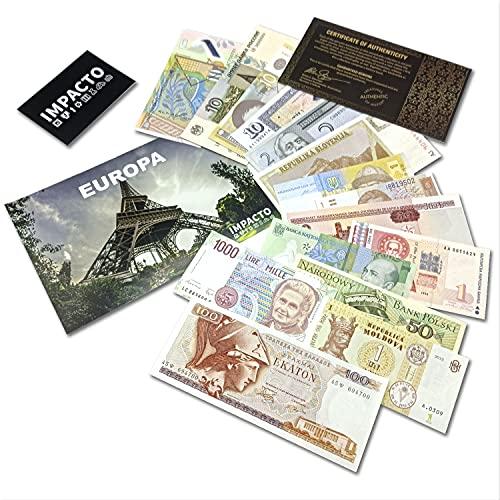 IMPACTO COLECCIONABLES Billetes del Mundo - Colección de 15 Billetes de 15 países de Europa