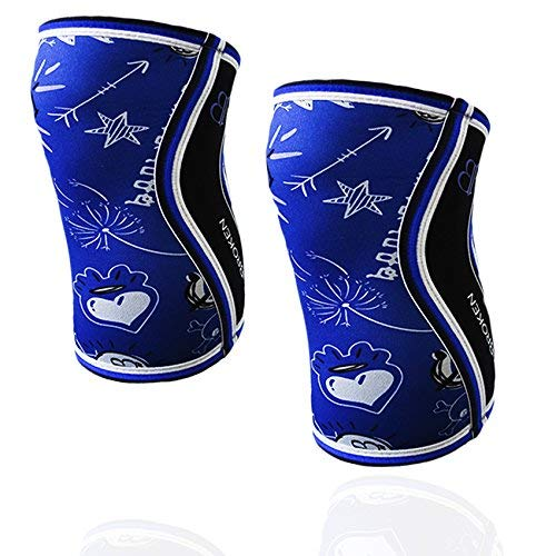 BB BANBROKEN Rodilleras Blue Draw (2 unds) - 5mm Knee Sleeves - Halterofilia, Deporte Funcional, Crossfit, Levantamiento de Pesas, Running y Otros Deportes. Unisex 1 PAR Azul (L)