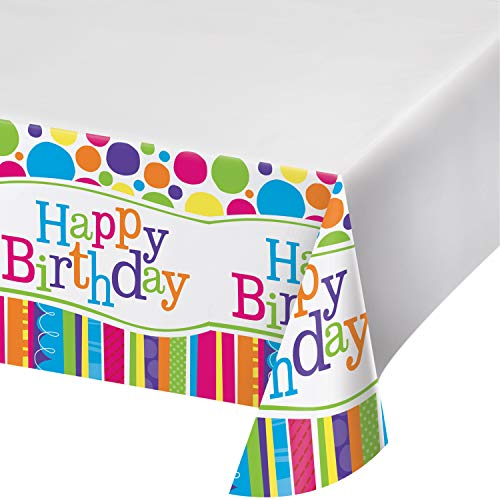Creative Converting Bright and Bold Rectangular Happy Birthday Plastic Tablecover Party Supplies, Multicolored