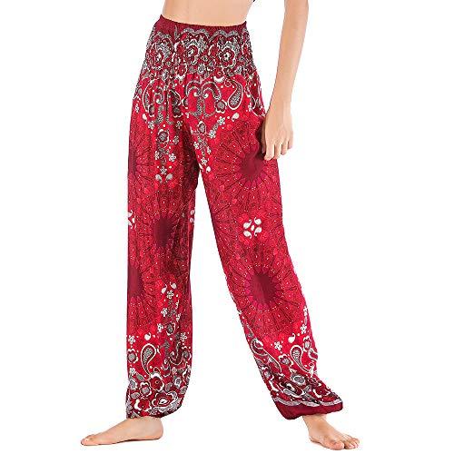 Nuofengkudu Damen Haremshosen High Waist Hippie Muster Baumwolle Pumphosen mit Taschen Leicht Weite Luftige Stoffhose Yogahose Sommerhose Strandhose(Einheitsgröße,Rot Blume)