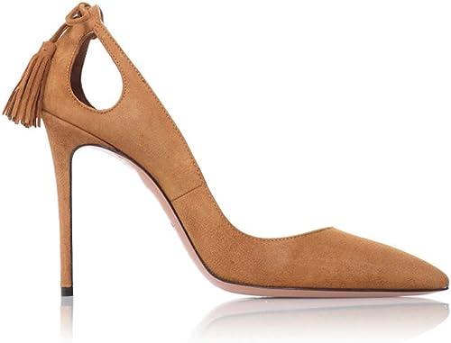 LYY.YY Femmes Pointé Gland Pompes Talon Creux Navettage Navettage Stiletto élégant Se Réunir Confortable Chaussures Simples (Hauteur Du Talon  13Cm)