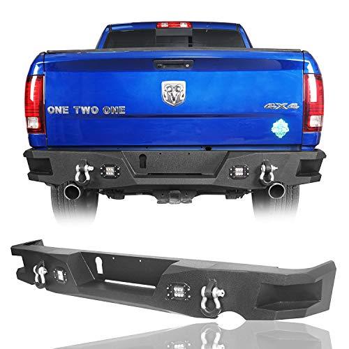 Hooke Road Dodge Ram 1500 Rear Step Bumper w/D-Rings & Extra LED Lights for 2009-2018 Ram 1500 Pickup Truck