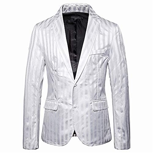qishi Herren-Blazer, einreihig, schmale Passform, Anzugjacke für Herren, schmale Passform, Freizeitanzug-Mantel, Business-Jacke Gr. XX-Large, weiß