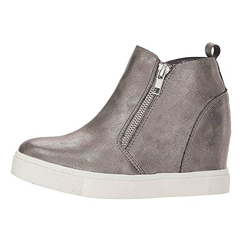 LAICIGO Womens Wedge Platform Sneakers Ankle Booties Heel Zipper Faux Leather Comfort Casual Shoes (38 EU - 7 B(M) US, 3-Grey)
