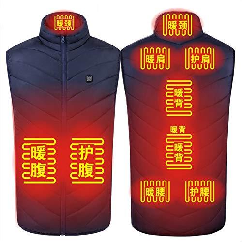 Yeah-hhi Chaleco de calefacción con 9 zonas de control de temperatura de carga USB, lavable y caliente, chaleco para camping, pesca, esquí, azul, M