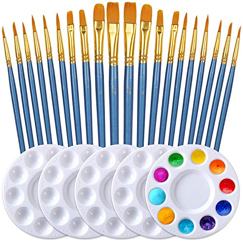Paint Brush Set by DUGATO, 2 Packs/20pcs Round Pointed Tip Nylon Hair Brushes with 5 Paint Palettes for Acrylic Watercolor Oil Gouache Enamel or Birthday Painting Party