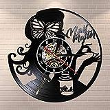 Gtllje Manicure Master Beauty Salon Reloj de Pared por Disco de Vinilo Vintage Manicure Nail Salon Studio Business Logo Nail Technician Gift 30x30cm