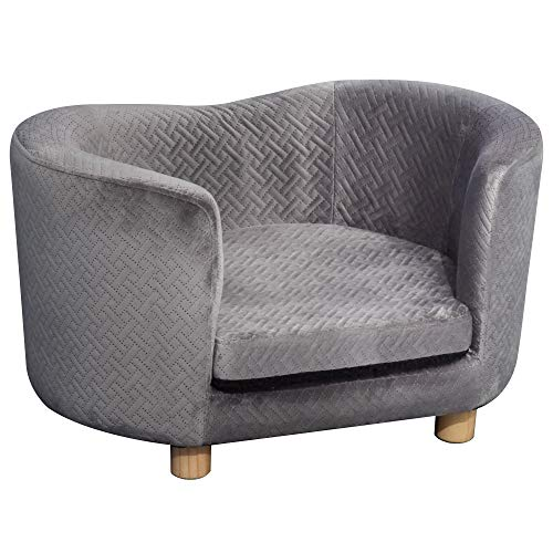 PawHut Luxury Tub Shaped Pet Sofa Couch Cat Kitten Bed Wood Frame High Back Removable Cushion Lounge Grey 65 x 44.5 x 36 cm