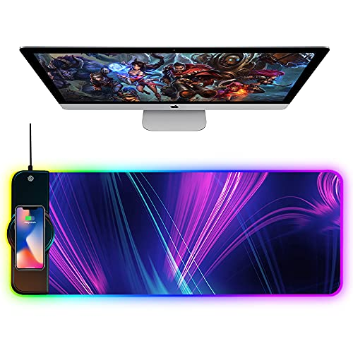 OFFICDO Wireless Charger Mouse Pad, 10W Extended RGB Mouse Pad Non-Slip Rubber Base 10 Lighting Modes, Ultra Thick Qi Fast Charging Gaming Mousepad for Samsung Galaxy S10/S9/S8 Plus iPhone 11/12 Pro