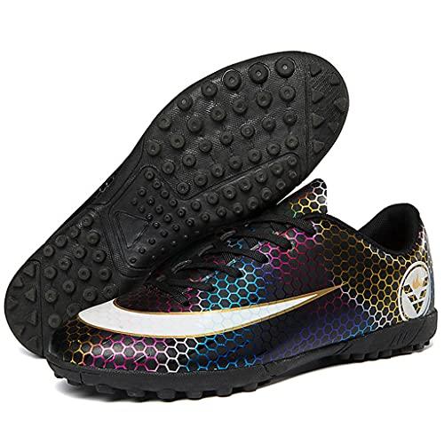 YUHAI Zapatos de fútbol para Zapatillas de Deporte de Adolescentes Zapatos de competición Zapatos de Entrenamiento niños niños Antideslizantes,Black Broken nails-41