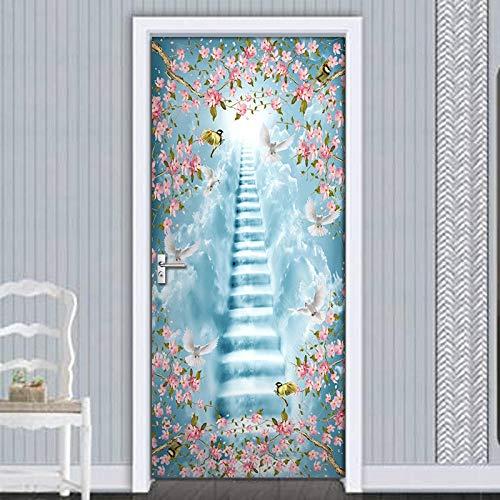 geen merk 3D Deur Mural Blauwe Ladder Hd Poster Zelfklevend Behang Voor Kinderen Kamer Houten Deur Decoratieve Decals.77X200Cm