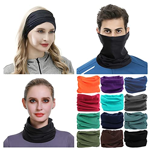 VANCROWN Neck Gaiter Headband Headwear Head Wrap Face Mask Magic Scarf Bandana for Men and Women (12PCS.Solid Color.1)