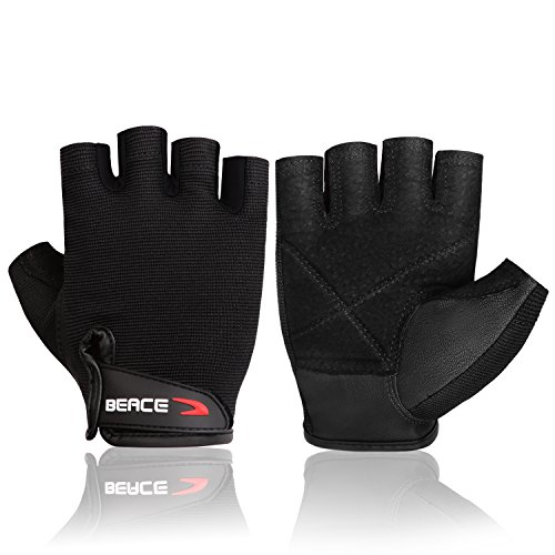 BEACE Weight Lifting Gym Gloves with Breathable Leather Palm for