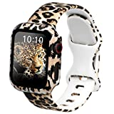 Leopard Silicone Band Compatible for Apple Watch Series 6/5/4/3/2/1/SE, Fadeless Floral Printed Wristband with 1 Pack Cheetah Protective Case for Women (38mm/40mm)